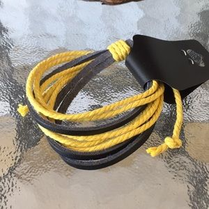 Men's Faux Leather And Cord Bracelet